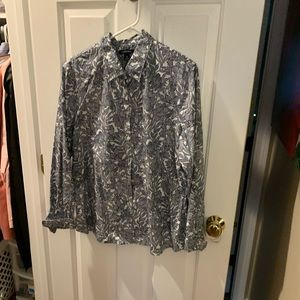 Lands' End Tops - Lands End blue and white blouse
